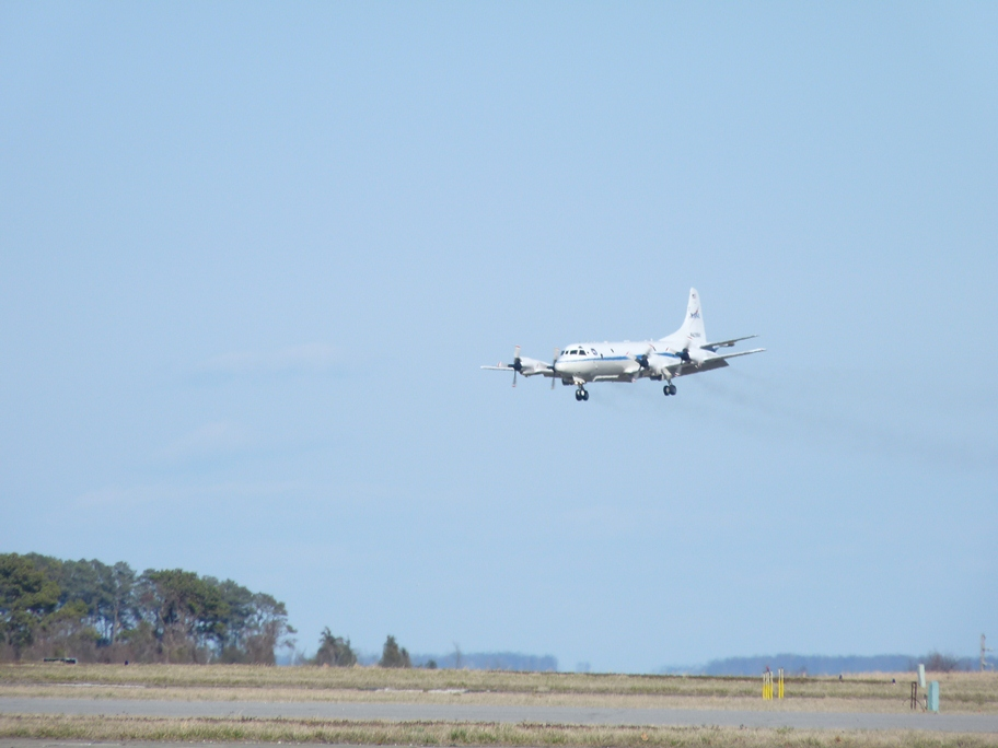 The P-3B returns to Wallops after the first of two IceBridge check flights. Credit: NASA / Kyle Krabill