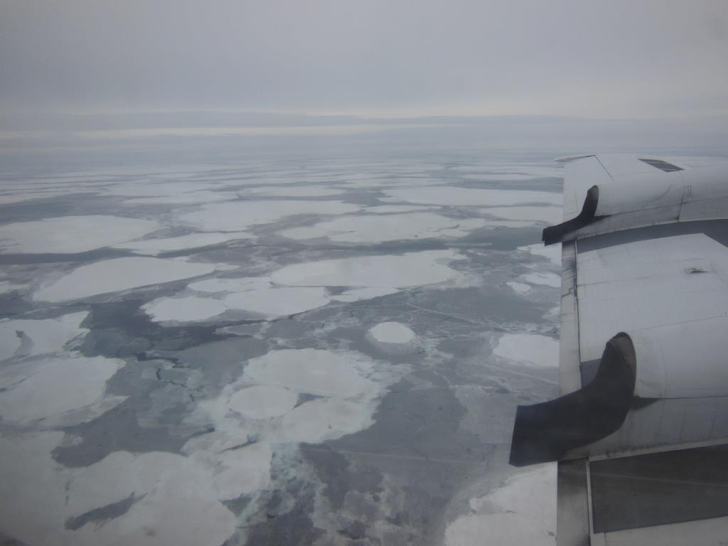 Sea ice in the Nares Strait west of Greenland