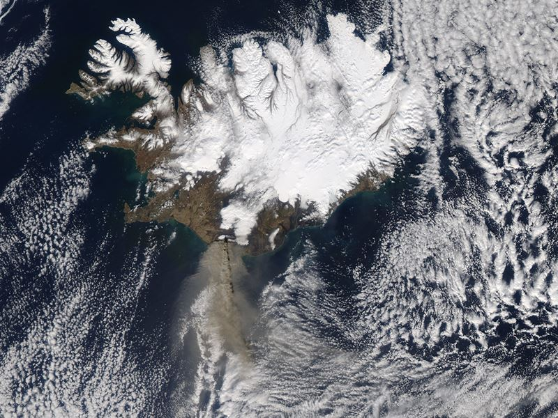 Satellite image of the ash plume from Iceland's Eyjafjallajökull volcano on Apr. 17, 2010.