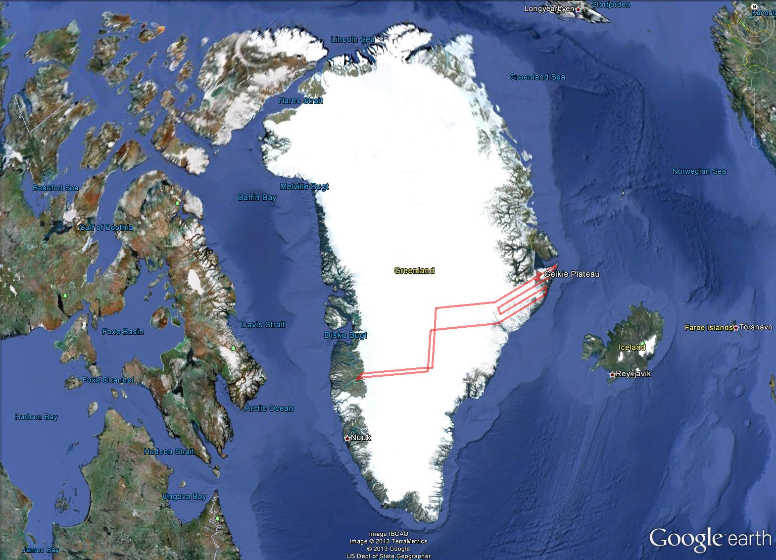 Flight path for Apr. 11 survey of Greenland's Geikie Peninsula