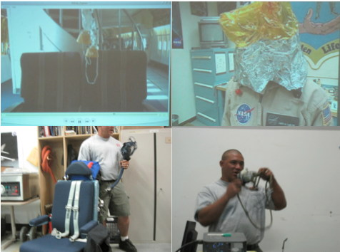 Photos from SOFIA pre-flight safety training. Compilation of videos-stills showing the variety of oxygen masks on board