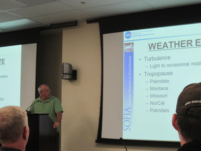My friend Dr. Ed Teets, atmospheric physicist, from NASA Dryden given the weather briefing for SOFIA Flight #105.