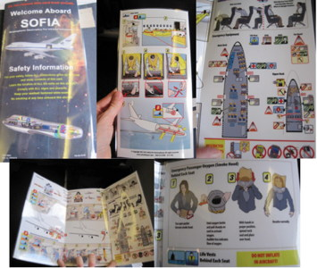 ompilation of photos of the SOFIA on-board safety information card.
