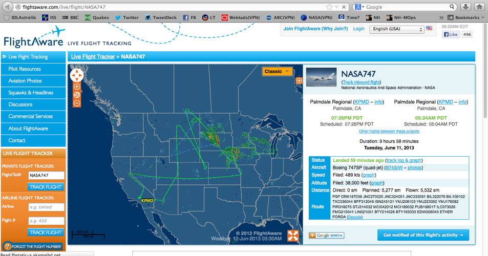 Screengrab of actual SOFIA Flight#105 flightpath Jun 11-12, 2013 from Flightaware.com
