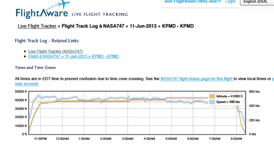 Screengrab of actual SOFIA Flight#105 altitude & speed Jun 11-12, 2013 from Flightaware.com