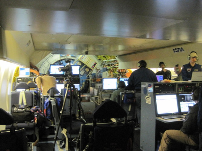 Typical view of operations during a SOFIA observation flight