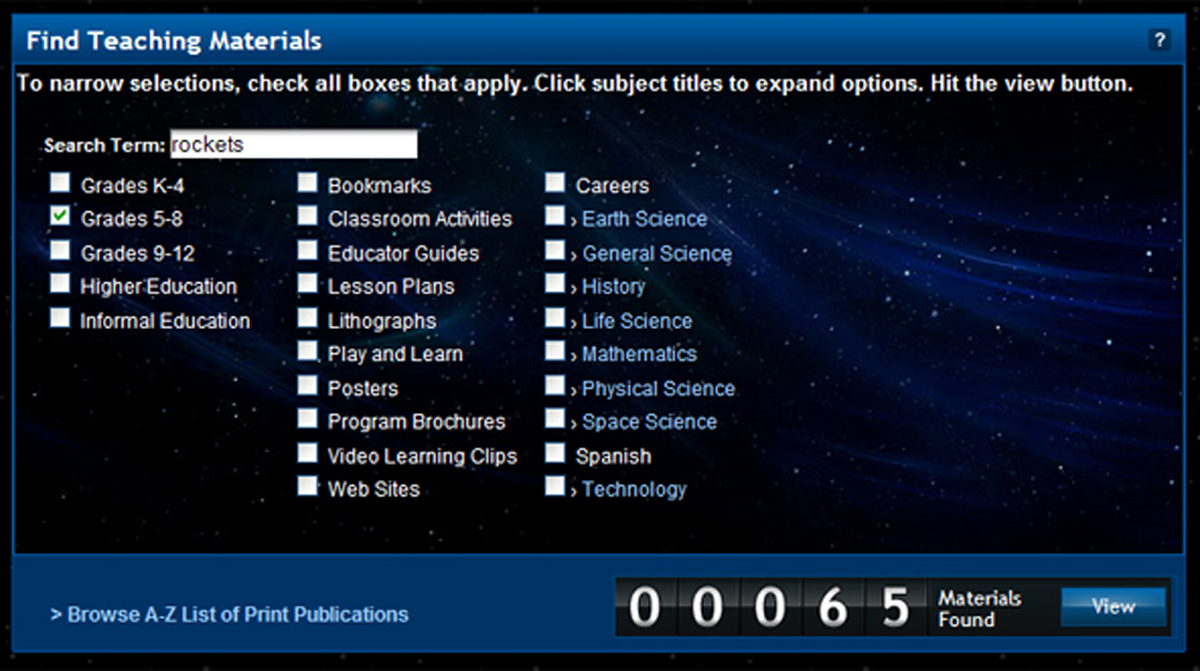 Screenshot of the educational materials search tool