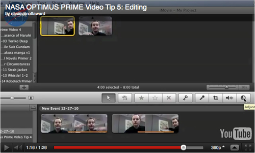 "Video screengab from NASA OPTIMUS PRIME Spinoff Award ""Making Your Video"" page"