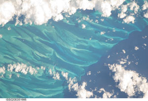 ISS020-E-51666 -- The wavy ocean bottom seen along the edge of the Tongue of the Ocean in the Bahamas.